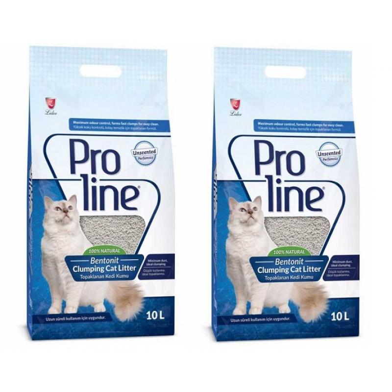 Pro Line Parfümsüz Topaklanan İnce Taneli Kedi Kumu 10 Lt * 2 Adet