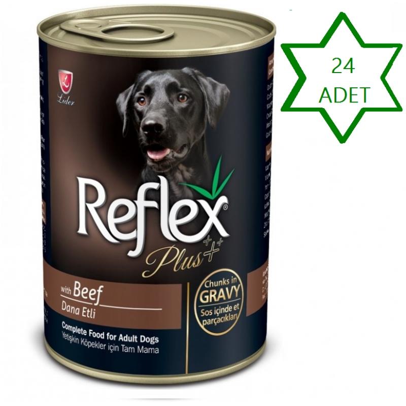 Reflex Plus Sos İçinde Dana Eti Parçalı Yetişkin Köpek Konserve 400 Gr x 24