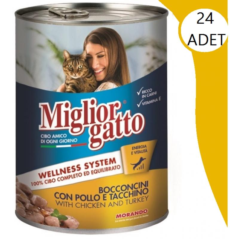 Miglior Gatto Tavuklu & Hindili Kedi Konservesi 405 Gr x 24