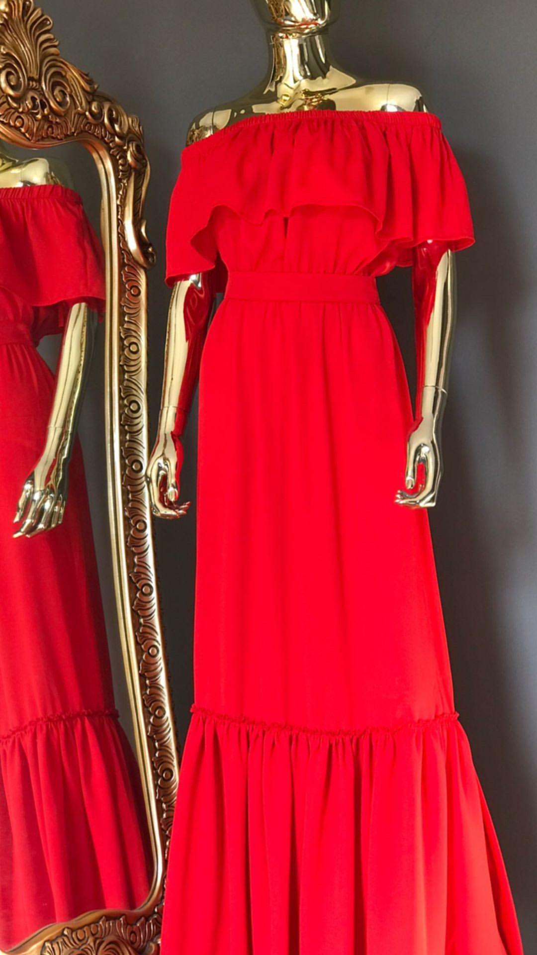 DIDEMΛYDIN Kırmızı Uzun Elbise