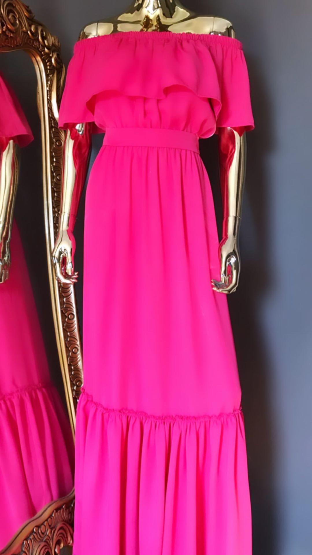 DIDEMΛYDIN Pembe Uzun Elbise